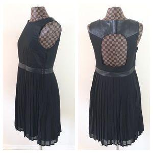 Black Faux Leather Pleated Tank Dress Open Back